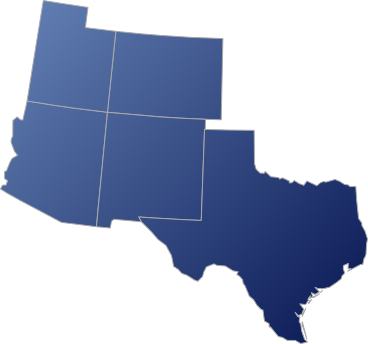 Map of New Mexico, Colorado, Utah, Arizona, and Texas
